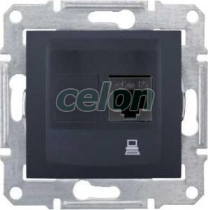 SEDNA Priza simpla date Stp Cat.6 Rj45 Grafit SDN4900170 - Schneider Electric, Prize - Intrerupatoare, Gama Sedna - Schneider Electric, Sedna - Grafit, Schneider Electric