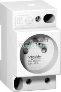 Priza pe sina standard Franta 16A A9A15306  - Schneider Electric, Aparataje modulare, Prize pe sina, Schneider Electric