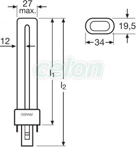 Bec compact 2 pini 9W DULUX S G23 6500k 4050300355320 - Osram, Surse de Lumina, Surse compact fluorescente neintegrate, Osram