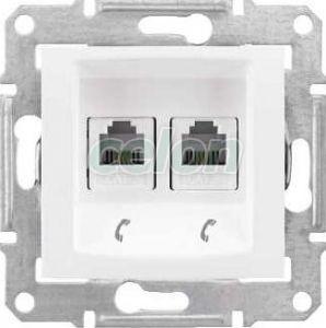 SEDNA Kettes telekommunikációs aljzat Rj11 IP20 Fehér SDN4201121 - Schneider Electric, Kapcsolók - Konnektorok, Sedna kapcsolócsalád - Schneider Electric, Sedna - Fehér, Schneider Electric