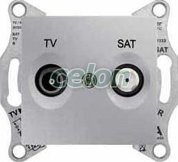 SEDNA Priză intermediară TV-R-SAT 4 db IP20 Aluminiu SDN3401960 - Schneider Electric, Prize - Intrerupatoare, Gama Sedna - Schneider Electric, Sedna - Aluminiu, Schneider Electric