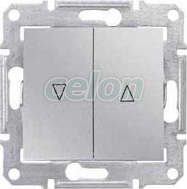 SEDNA Buton acționare storuri Simbol Sus-jos 10A IP20 Aluminiu SDN1300160 - Schneider Electric, Prize - Intrerupatoare, Gama Sedna - Schneider Electric, Sedna - Aluminiu, Schneider Electric