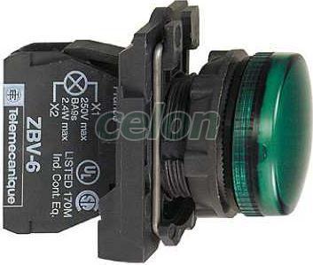 Jelzőlámpa izzó zöld XB5AV63 - Schneider Electric, Automatizálás és vezérlés, Müködtető- és jelzőkészülékek, Műanyag működtető- és jelzőkészülék-Harmony 5-os sorozat-22mm, Műanyag komplett jelzőlámpák Ø22, Schneider Electric