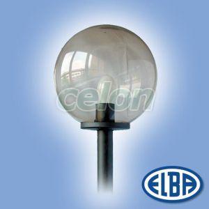 Corp iluminat pietonal de exterior GLOBOLUX 1x75W E27 d=250mm dispersor PMMA fumuriu IP44 77700460 Elba, Corpuri de Iluminat, Iluminat urban, pietonal, Elba