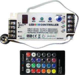 Dimmer & controller cu reglaj manual & telecommanda pentru benzi cu led RGB 12VDC 15A/180W total (5A/60w/culoare) / 24VDC 15A/360W total (5A/120w/culoare) , 12 V DC, , LUM30-33368 Lumen, Corpuri de Iluminat, Benzi cu leduri, Accesorii pentru benzi cu Led, Lumen