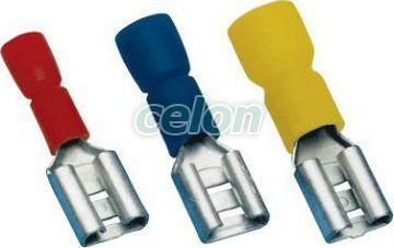 """Mufă glisantă izolată, alamă, roşu - 4,8x0,5mm, 1,5mm2 PCSH5 - Tracon, Materiale si Echipamente Electrice, Elemente de conexiune si auxiliare, Fise si mufe glisante izolate si neizolate, Fişe şi mufe glisante izolate, Fişe glisante izolate tip """"mamă"""", Tracon Electric"""