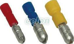Fişă cilindrică  izolată, cupru electrolitic, galben - 6mm2, (d1=3,6mm, d2=5mm), PVC SH4 - Tracon, Materiale si Echipamente Electrice, Elemente de conexiune si auxiliare, Papuci si mufe izolate si neizolate, Papuci şi mufe izolate, Fişe cilindrice izolate, Tracon Electric