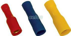 Mufă cilindrică  izolată, cupru electrolitic, galben - 6mm2, (d1=3,5mm, d2=5mm), PVC SHA4 - Tracon, Materiale si Echipamente Electrice, Elemente de conexiune si auxiliare, Papuci si mufe izolate si neizolate, Papuci şi mufe izolate, Mufe cilindrice izolate, Tracon Electric