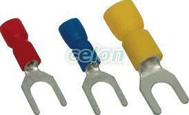 Papuc tip furcă, izolat, cupru electrolitic stanat, galben - 6mm2, M3, (d1=3,4mm, d2=3,6mm), PVC SV3 - Tracon, Materiale si Echipamente Electrice, Elemente de conexiune si auxiliare, Papuci si mufe izolate si neizolate, Papuci şi mufe izolate, Papuci tip furcă izolaţi, Tracon Electric