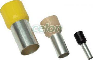 Tub de capăt izolat (PA6.6),Cu electrolitic stanat, galben - 1mm2, L=18,4mm E110 - Tracon, Materiale si Echipamente Electrice, Elemente de conexiune si auxiliare, Tuburi de capăt, Tuburi de capăt (cap terminal) izolate, Tracon Electric