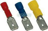 """Fişă glisantă izolată, alamă, albastru - 4,8x0,8mm, 2,5mm2 KCS5 - Tracon, Materiale si Echipamente Electrice, Elemente de conexiune si auxiliare, Fise si mufe glisante izolate si neizolate, Fişe şi mufe glisante izolate, Fişe glisante izolate tip """"tată"""", Tracon Electric"""