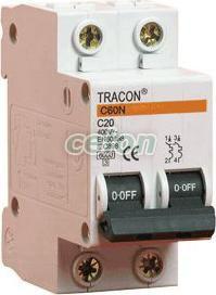 Siguranţă automată, 2 poli, curba caracteristică B - 16A, 6kA B60-16-2 - Tracon, Aparataje modulare, Sigurante automate, Sigurante bipolare 2P, Tracon Electric