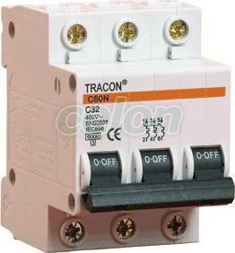 Kismegszakító, 3 pólus, C karakterisztika - 10A, 6kA C60-10-3 - Tracon, Moduláris készülékek, Kismegszakítók, 3 pólusú kismegszakítók, Tracon Electric