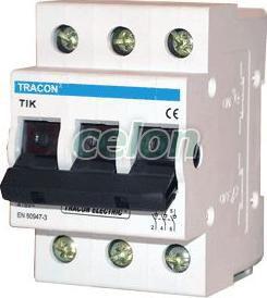 Întrerupător general - 3P, 63A TIK3-63 - Tracon, Aparataje modulare, Întrerupătoare generale manuale, Tracon Electric