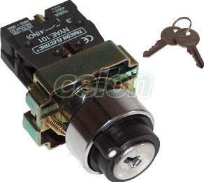 Kulcsos kapcsoló, fémalap, közép K,I háromállású - 2xNO, 3A/230V AC, IP42 NYBG53KK - Tracon, Automatizálás és vezérlés, Müködtető- és jelzőkészülékek, Fémalapra szerelt nyomógombok, kapcsolók, jelzőlámpák Ø22, Fémlapra szerelt választókapcsolók Ø22, Tracon Electric