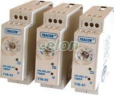 Releu de timp cu temporizare la acţionare - 230V AC/24V AC/DC, 1-12s, 5A/250V AC TIR-01 - Tracon, Automatizari Industriale, Relee de interfata, masura si control, Relee de timp, Relee mono-funcţionale de timp (cu închidere întârziată), Tracon Electric