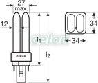 Bec compact 4 pini 13W DULUX D G24d-1 6500k 4050300487106 - Osram, Surse de Lumina, Surse compact fluorescente neintegrate, Osram