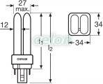 Bec compact 4 pini 18W DULUX D/E G24q-2 3000k 4050300327211 - Osram, Surse de Lumina, Surse compact fluorescente neintegrate, Osram