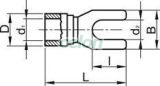 Papuc tip furcă, izolat, cupru electrolitic stanat, roşu - 1,5mm2, M6, (d1=1,7mm, d2=6,6mm), PVC PV6 - Tracon, Materiale si Echipamente Electrice, Elemente de conexiune si auxiliare, Papuci si mufe izolate si neizolate, Papuci şi mufe izolate, Papuci tip furcă izolaţi, Tracon Electric