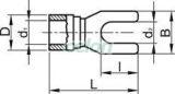 Papuc tip furcă, izolat, cupru electrolitic stanat, galben - 6mm2, M4, (d1=3,4mm, d2=4,3mm), PVC SV4 - Tracon, Materiale si Echipamente Electrice, Elemente de conexiune si auxiliare, Papuci si mufe izolate si neizolate, Papuci şi mufe izolate, Papuci tip furcă izolaţi, Tracon Electric