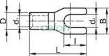 Papuc tip furcă, neizolat, cupru electrolitic stanat - 4mm2, M6, (d1=3,5mm, d2=6,5mm) V4-6 - Tracon, Materiale si Echipamente Electrice, Elemente de conexiune si auxiliare, Papuci si mufe izolate si neizolate, Papuci şi mufe neizolate, Papuci tip furcă, neizolaţi, Tracon Electric