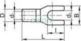 Papuc tip furcă, neizolat, cupru electrolitic stanat - 1,5mm2, M4, (d1=1,6mm, d2=4,4mm) V15-4 - Tracon, Materiale si Echipamente Electrice, Elemente de conexiune si auxiliare, Papuci si mufe izolate si neizolate, Papuci şi mufe neizolate, Papuci tip furcă, neizolaţi, Tracon Electric